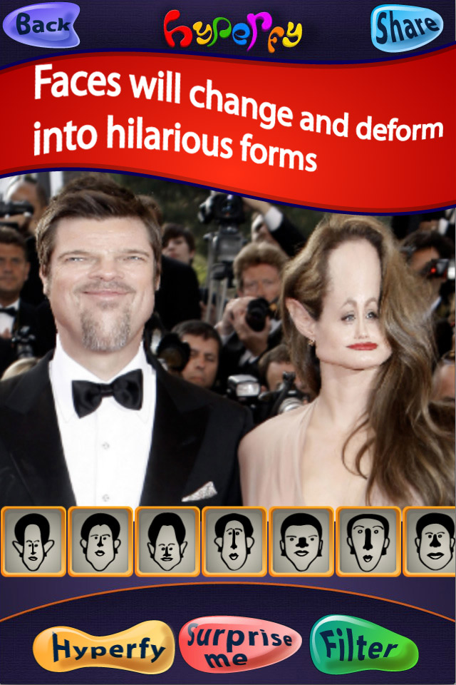 Application of a caricature filter to famous people's faces